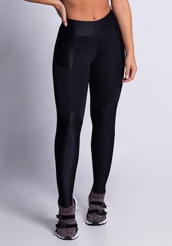 Calça legging poliamida com detalhes em alto relevo zigzag