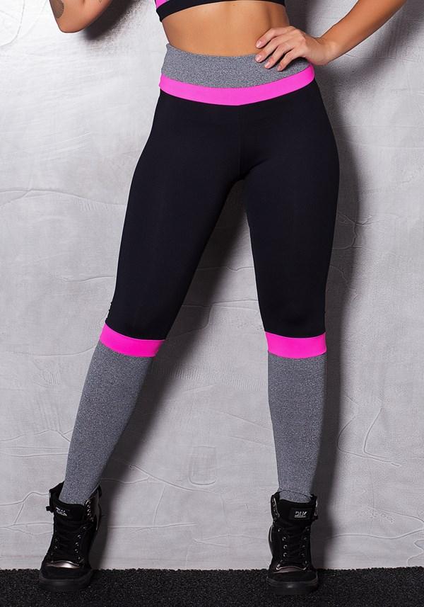 Calça legging poliamida com mescla e neon
