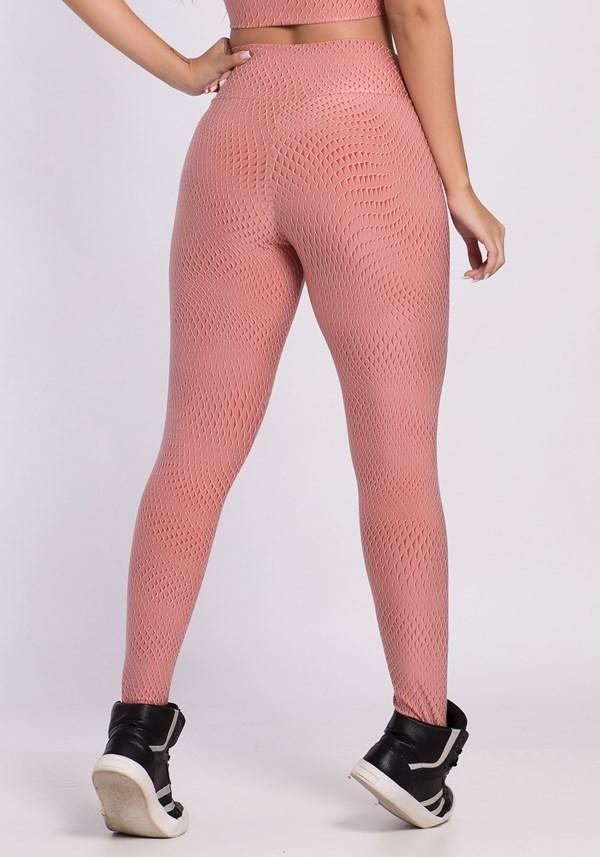 Calça legging poliamida com textura emborrachada rosê