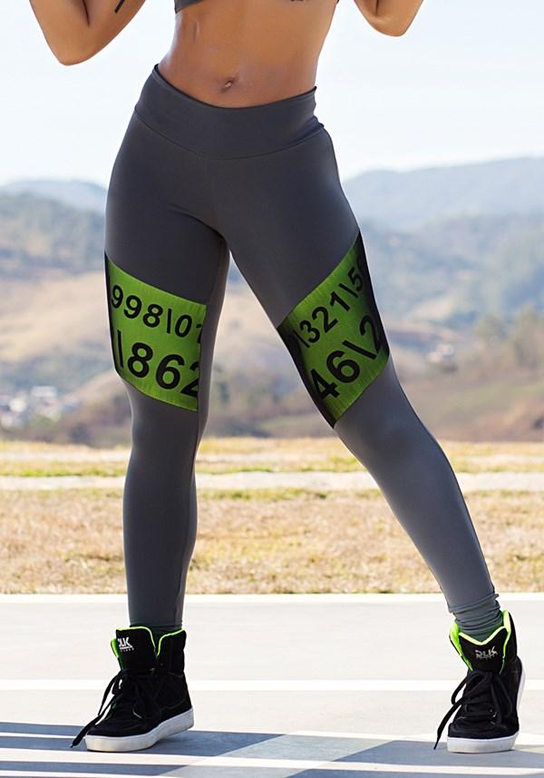Calça legging poliamida com tule numbers