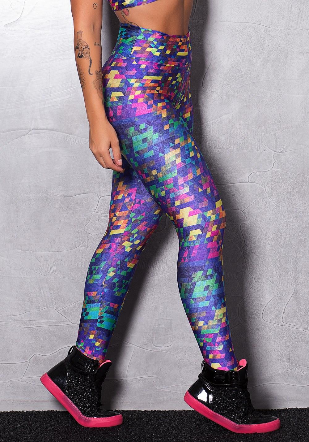 Calça legging poliamida digital shine color