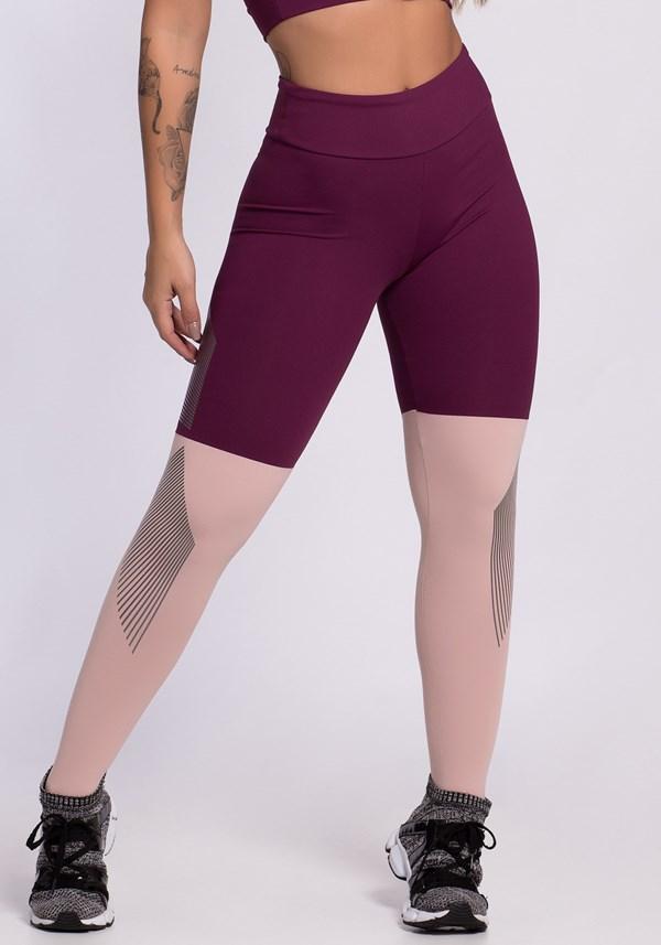 Calça legging poliamida duas cores com detalhes em silk