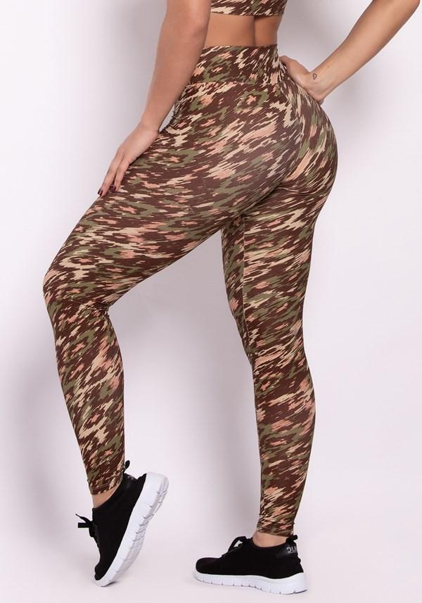 Calça legging poliamida estampada army colors