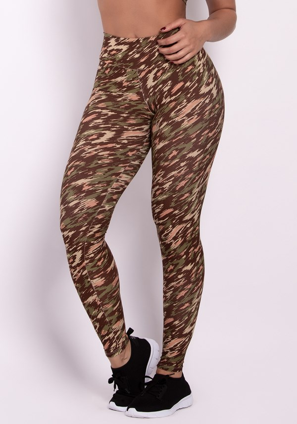 Calça legging poliamida estampada army colors