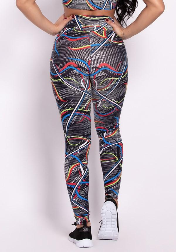 Calça legging poliamida estampada colorful