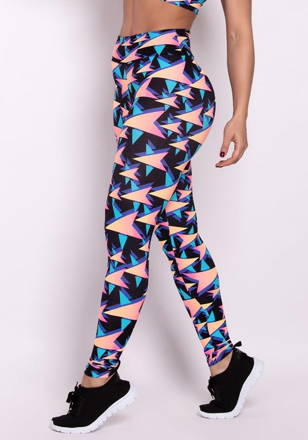 Calça legging poliamida estampada colorful stars