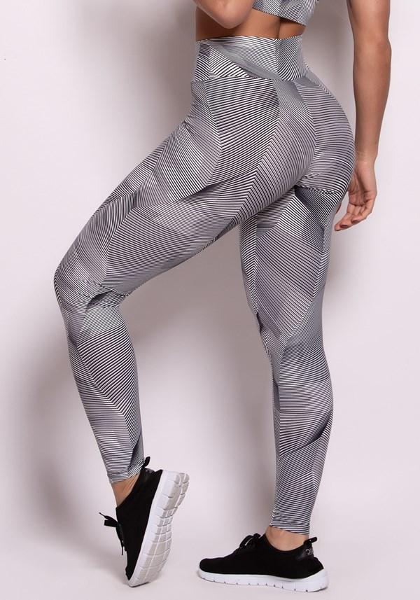 Calça legging poliamida estampada com linhas pretas