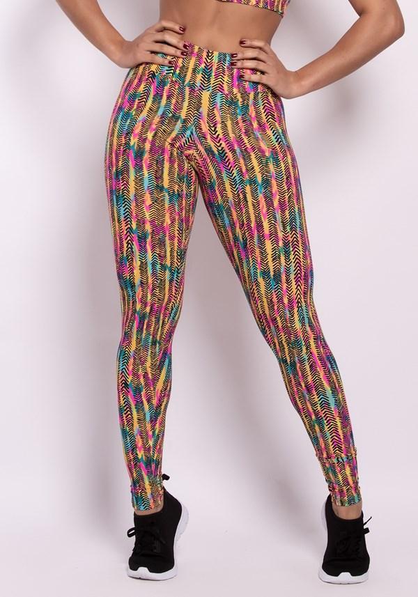 Calça legging poliamida estampada happy colors
