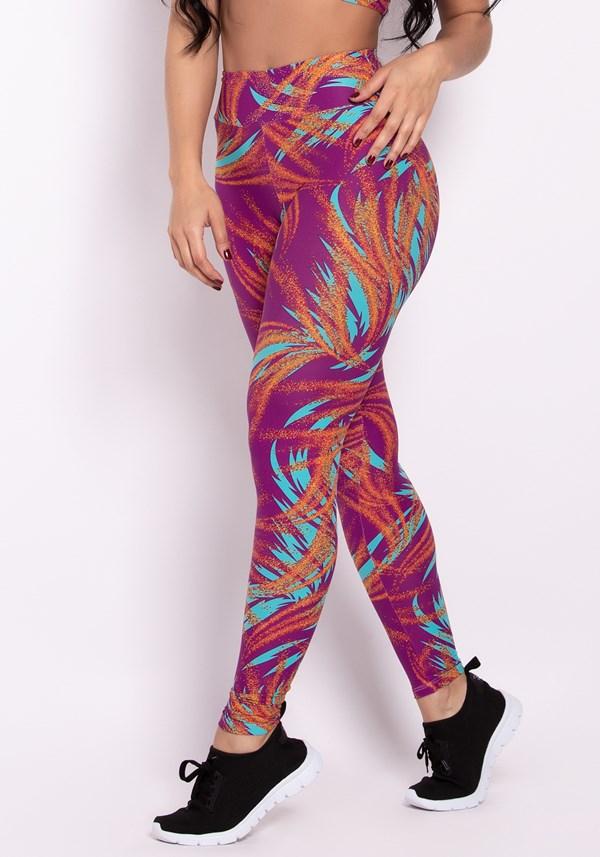 Calça legging poliamida estampada hot colors