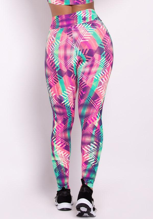 Calça legging poliamida estampada life colors