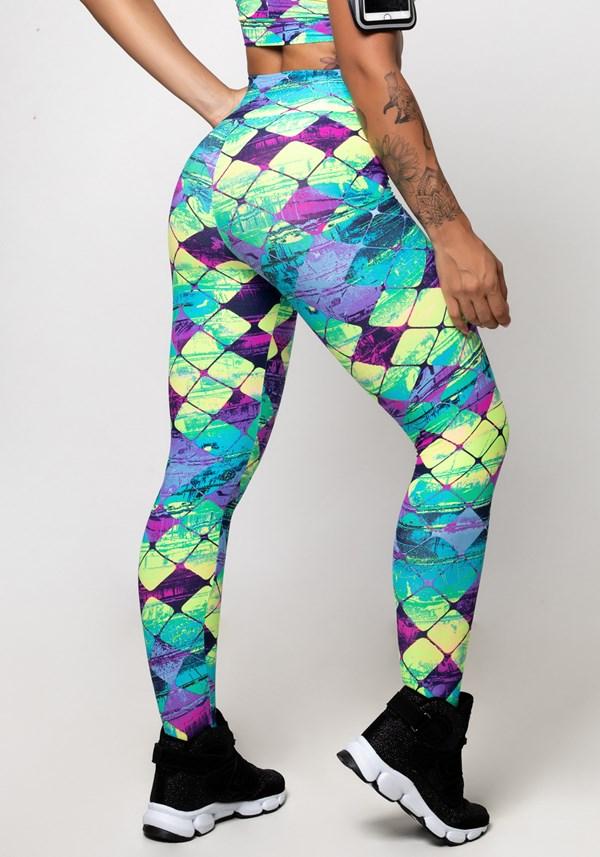 Calça legging poliamida estampada neon squad