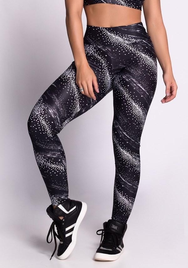 Calça legging poliamida glow black e white