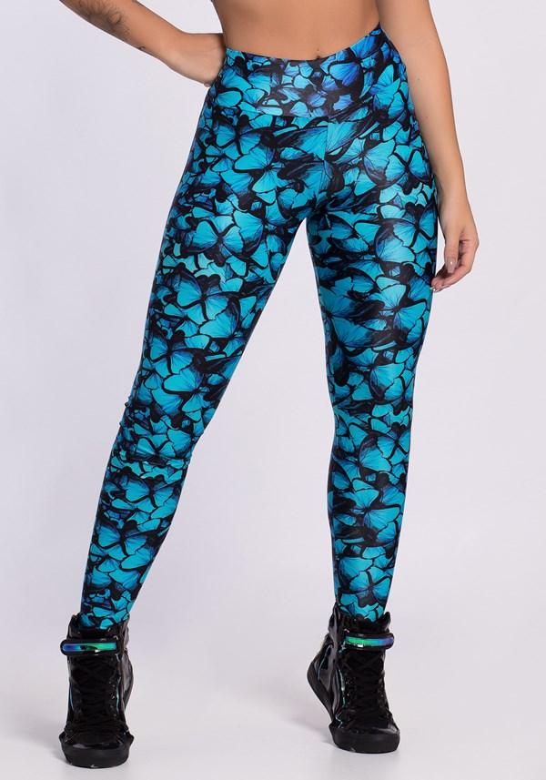 Calça legging poliamida glow blue blutterflies