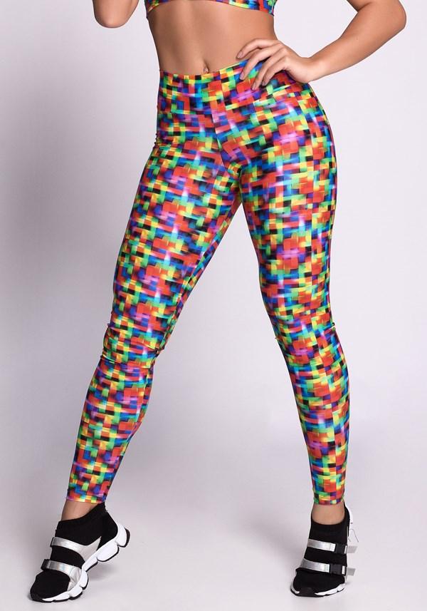 Calça legging poliamida glow colorful