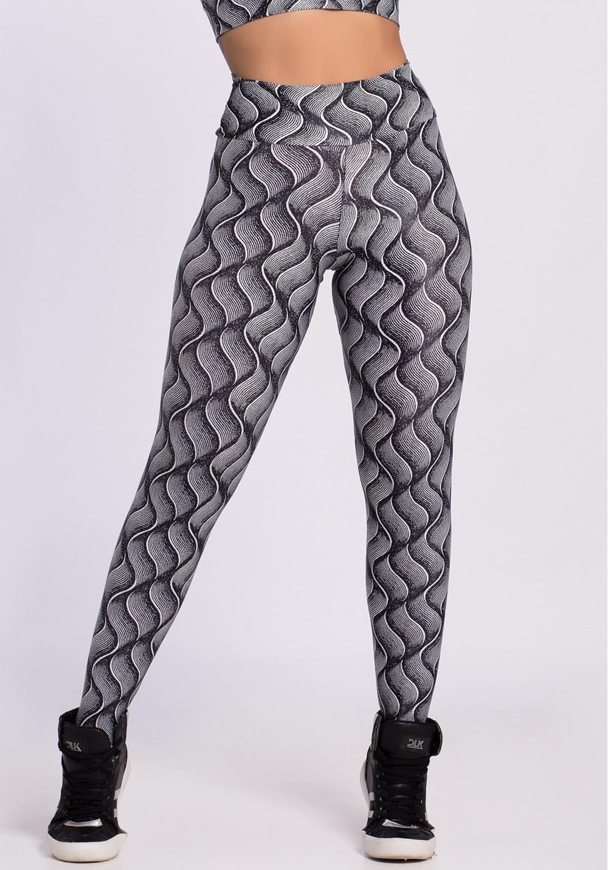 Calça legging poliamida glow frequência preto e branco