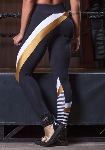Calça legging poliamida gold stripes