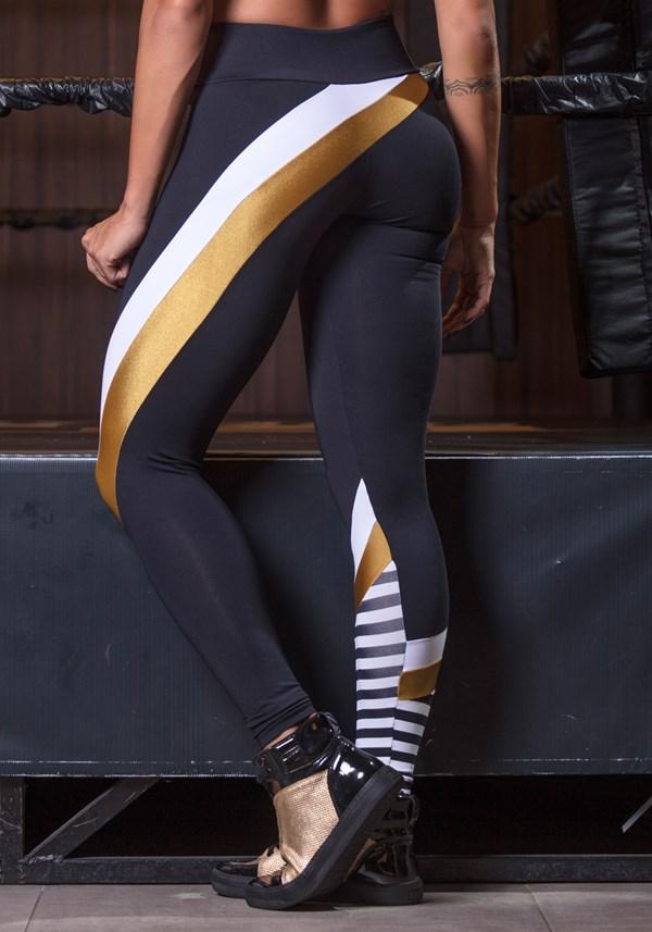Calça legging poliamida gold stripes