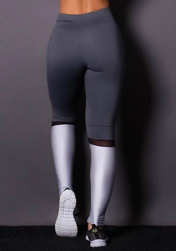 Calça legging poliamida grafite com brilho prata