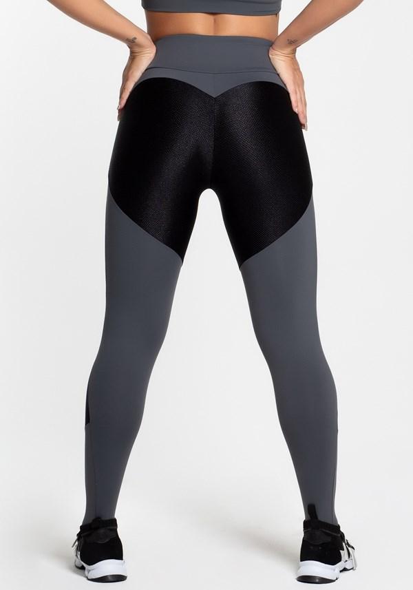 Calça legging poliamida grafite com detalhe texturizado preto