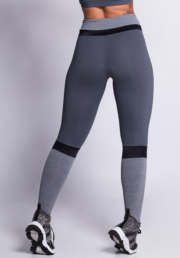 Calça legging poliamida grafite com detalhes preto e mescla