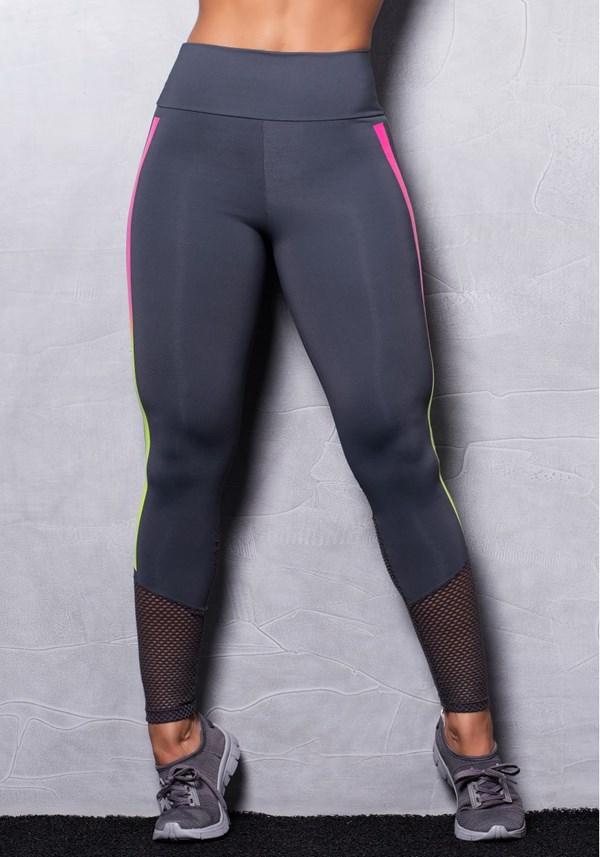 Calça legging poliamida grafite com silk neon colors