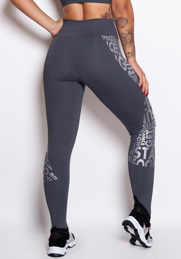 Calça legging poliamida grafite com silk prata
