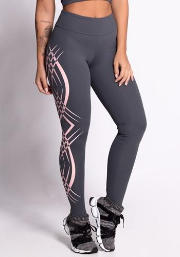 Calça legging poliamida grafite com silk tribal rosé