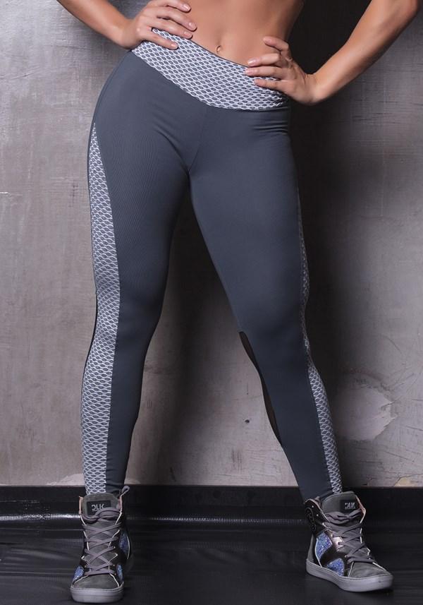 Calça legging poliamida grafite com textura e tule
