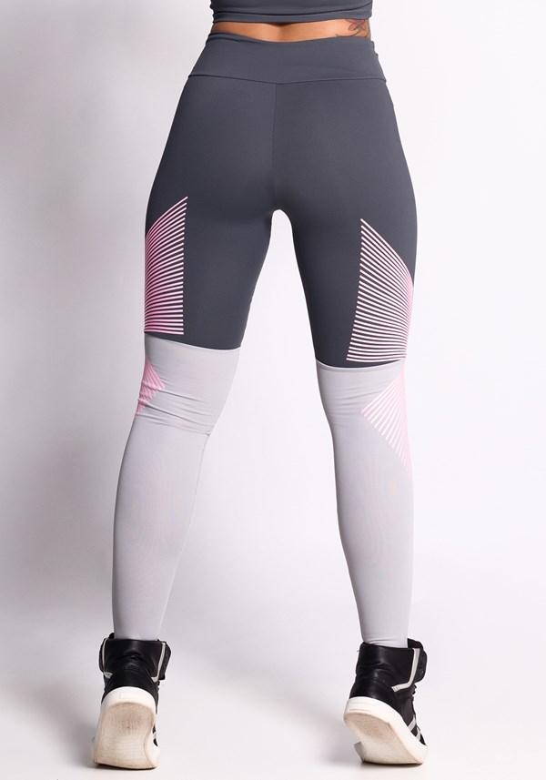 Calça legging poliamida grafite e cinzacom silk rosa