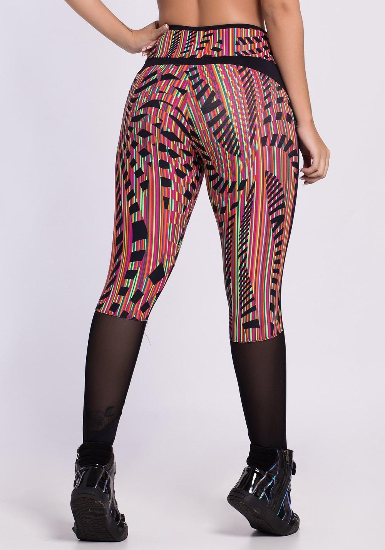 Calça legging poliamida lisa e estampada colorful maze