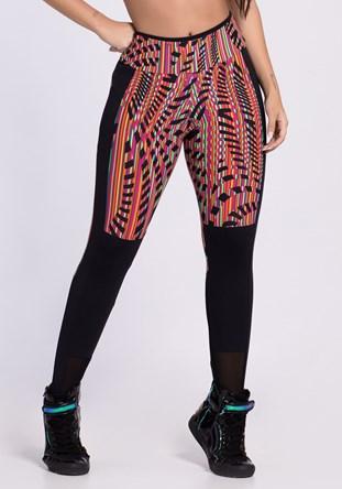 Produto Calça legging poliamida lisa e estampada colorful maze
