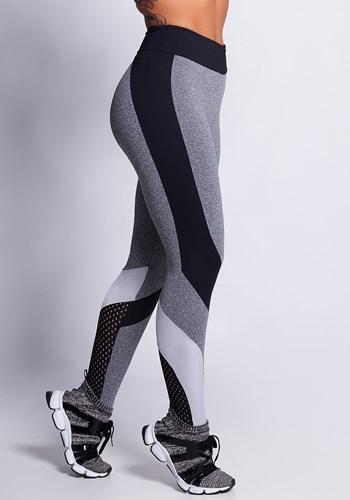 Calça legging poliamida mescla com brilho e tela