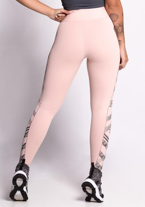 Calça legging poliamida nude com silk dlk
