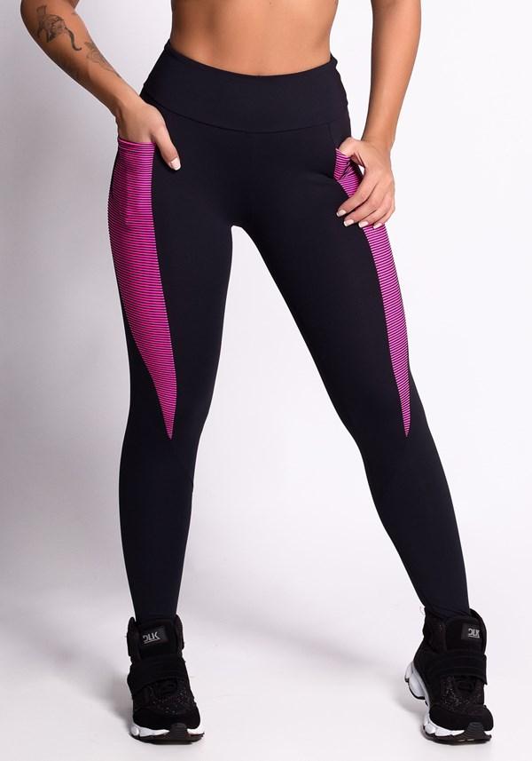 Calça legging poliamida preta 3d pink