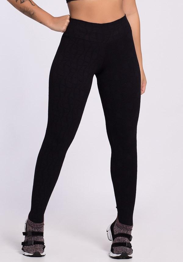 Calça legging poliamida preta alto relevo curvas