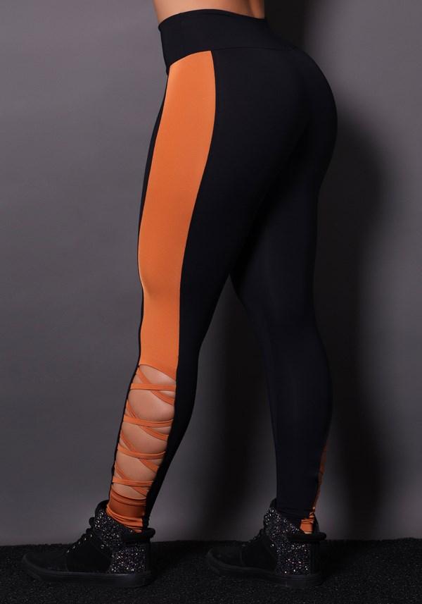 Calça legging poliamida preta com brilho bronze