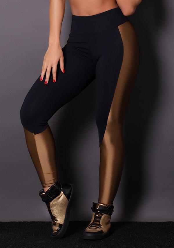 Calça legging poliamida preta com brilho golden