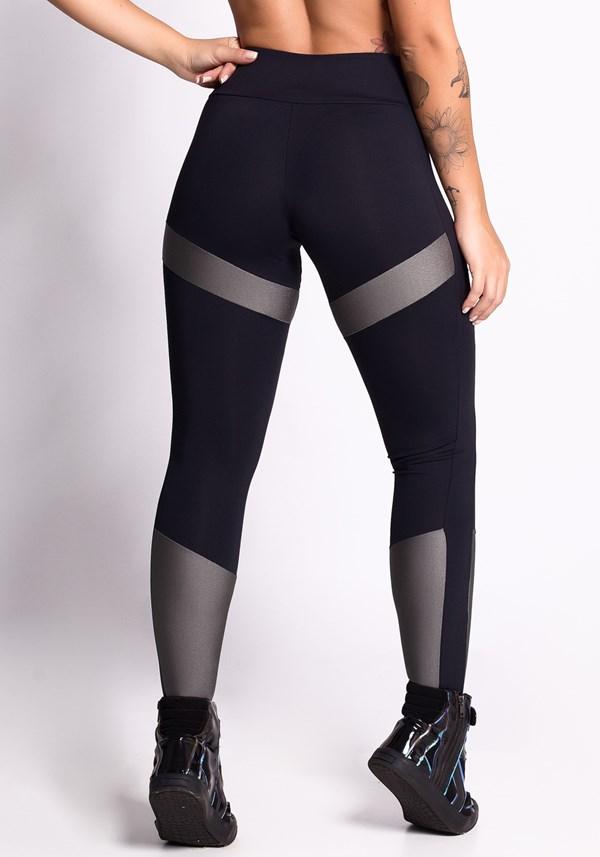 Calça legging poliamida preta com brilho grafite