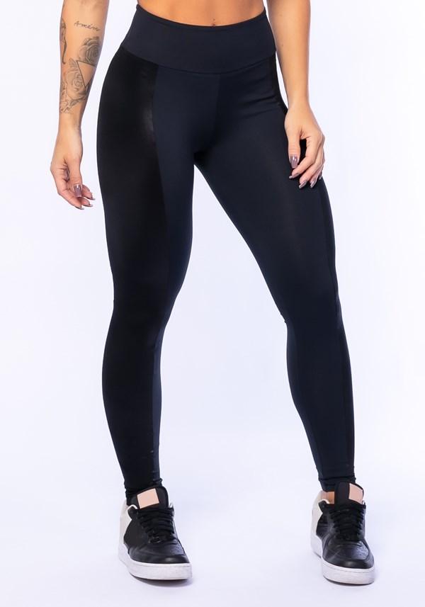 Calça legging poliamida preta com cirrê nas laterais