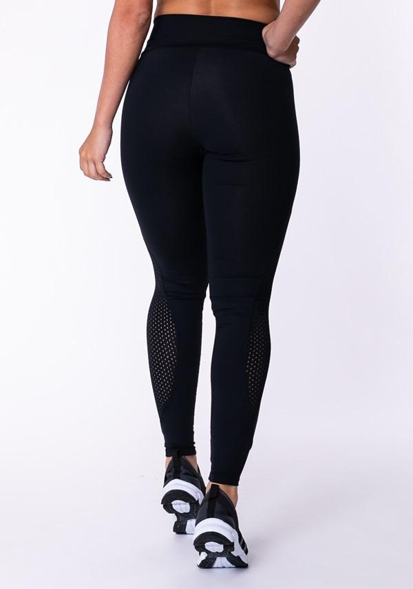 Calça legging poliamida preta com detalhes em dryfit
