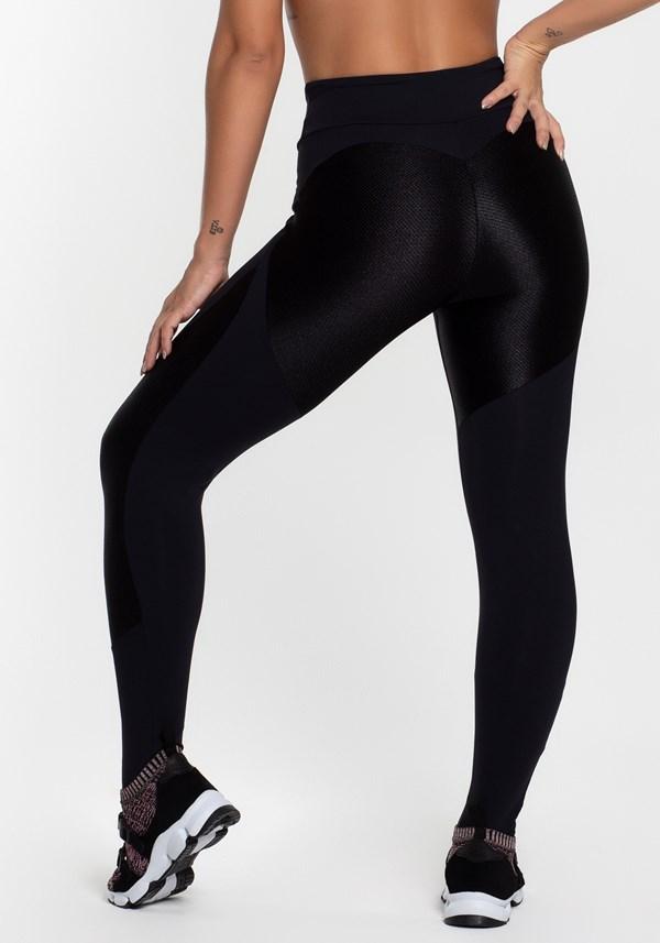 Calça legging poliamida preta com detalhes texturizado