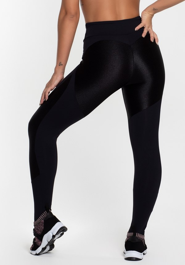 4c22745f6 Calça legging poliamida preta com detalhes texturizado Calça legging  poliamida preta com detalhes texturizado