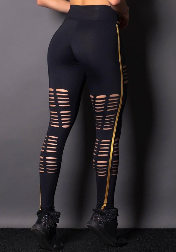 Calça legging poliamida preta com dourado e cortes