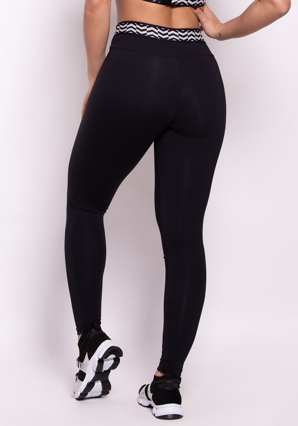 Calça legging poliamida preta com elástico