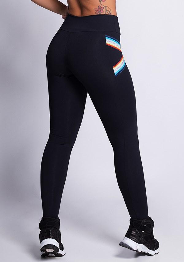 Calça legging poliamida preta com elástico colors