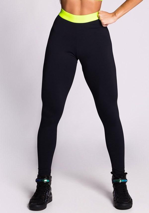 Calça legging poliamida preta com elástico neon