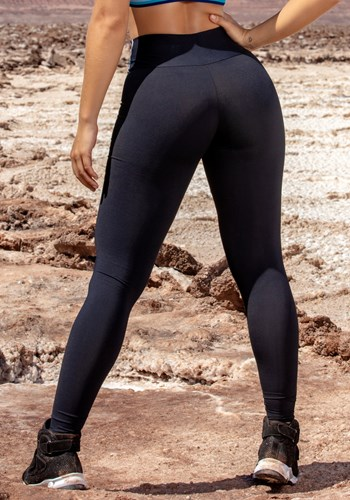 Calça legging poliamida preta com listras e elastico colors