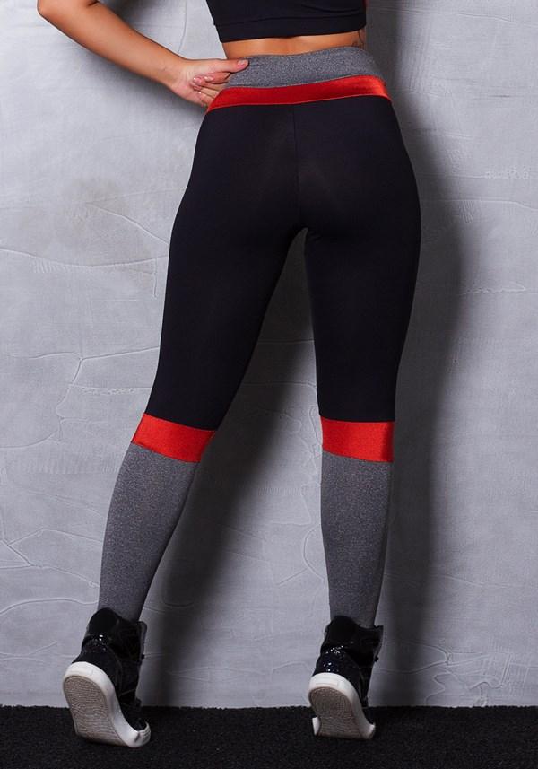Calça legging poliamida preta com mescla e brilho