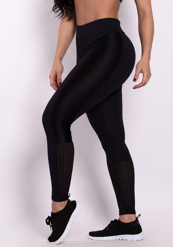 Calça legging poliamida preta com recortes e tela