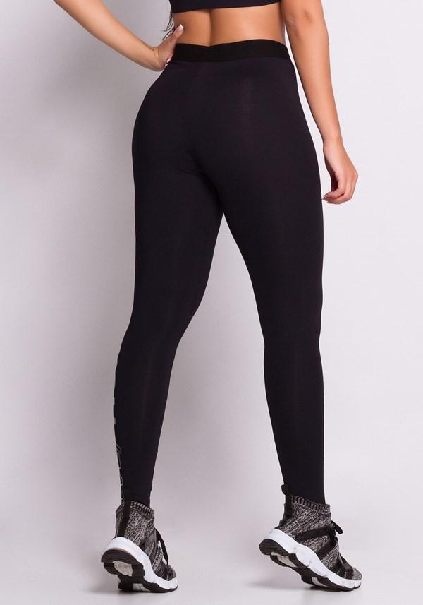 Calça legging poliamida preta com silk code
